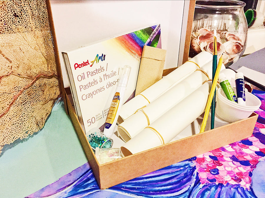 DIY Mermaid Art-Art Kit Delivered-Special Edition - RLB ARTBOX STUDIO