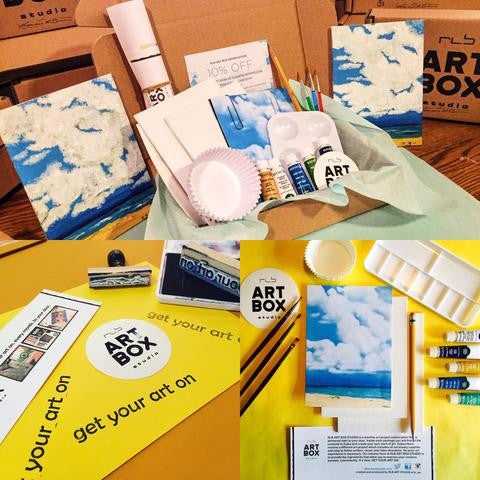 Acrylic Painting, Cloud Painting, DIY Painting, Artist Kit, Art Making, RLB ARTBOX STUDIO, Art Subscription, art supplies, hobby, past boxes, unboxing, craft box, art box, art gift, learn how, hobby