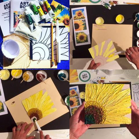 RLB ARTBOX STUDIO, artbox, art project, art kit, Impasto Sunflower, Painting Kit, Van Gogh, art subscription, artist, create, diy, Erie PA, Sunflowers