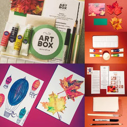 DIY Watercolor Fall Leaves-Art Kit Delivered - RLB ARTBOX STUDIO