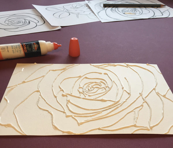 Relief Watercolor Roses-A Unique Mixed Media Art Project Kit - RLB ARTBOX STUDIO