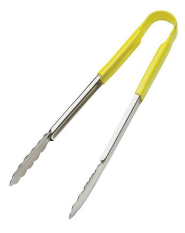 Browne 12IN Stainless Steel Yellow Coated Utility Tongs