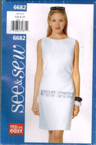 6682 Sewing Pattern Butterick Ladies Perfect Plain Dress 6 8 10