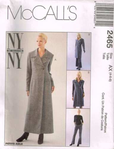 *2465 Sewing Pattern McCall's Ladies CoatDress and Pants 4 6 8