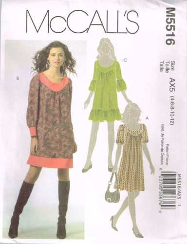 5516 Sewing Pattern McCall's Ladies Loose Pull Over Dress 4 6 8 10 12