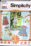 7572 Sewing Pattern Girls Dress Jumpsuit Skirt Blouse w/ Applique 3 4 5 6 7 8