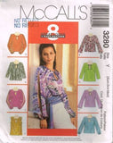 3280 Sewing Pattern McCall's Ladies Blouse w/ Keyhole Opening Sleeve Variations