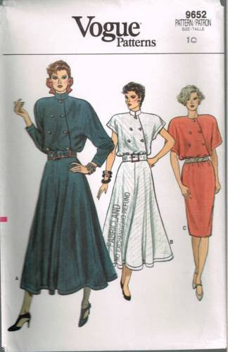 9652 Sewing Pattern Vintage Vogue Asymmetrical Front Dress 10
