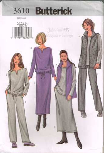 3610 Sewing Pattern Butterick Ladies Casual Wear Top Pants Skirt 20 22 24