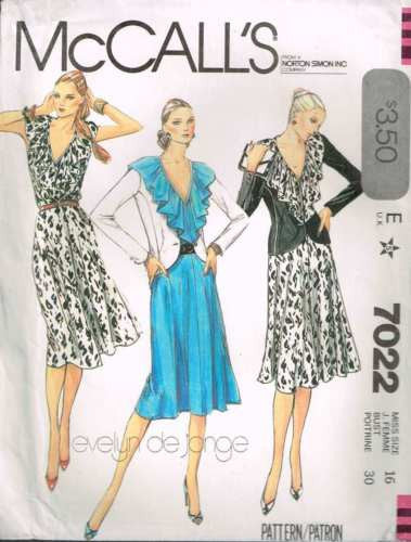 7022 Sewing Pattern Vintage McCall's Ladies Ruffled Neckline Dress Jacket 16