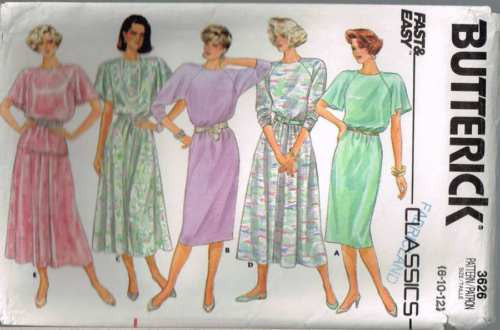 3626 Sewing Pattern Butterick Raglan Sleeve Dress or Top & Skirt 8 10 12