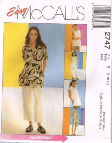 *2747 Sewing Pattern McCall's Ladies Shirt Pants Shorts Top 8 10 12