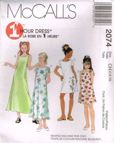 *2074 Sewing Pattern McCall's Girls 1 Hour Summer Dress 7 8 10