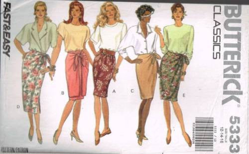*5333 Sewing Pattern Butterick Ladies Mock Wrap Skirt 12 14 16