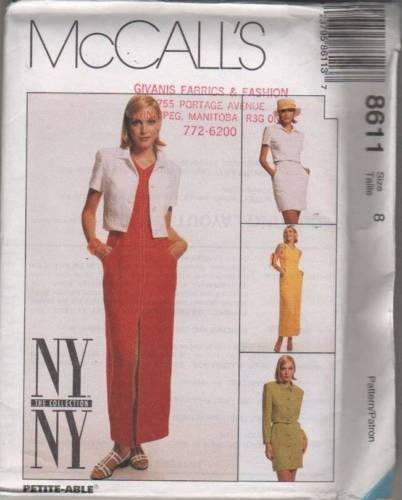 8611 Sewing Pattern McCall's Ladies Dress Skirt Jacket Blouse 8