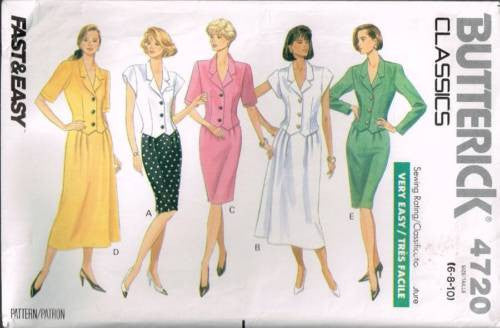 4720 Pattern Butterick Ladies Blouse and Skirts 6 8 10