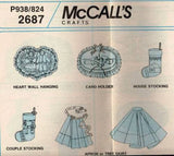 *938 / 2687 Sewing Pattern McCall's Christmas Ornaments Tree Skirt Apron