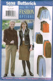 5698 Sewing Pattern Butterick Ladies Jacket Vest Skirt Pants 12 14 16