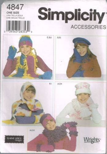 4847 Sewing Pattern Girls Fleece Scarves Hats Mittens - Three Sizes