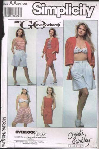 9156 Sewing Pattern Ladies Loose Fitting Shorts Skirt Camisole Jacket Bra XS S M