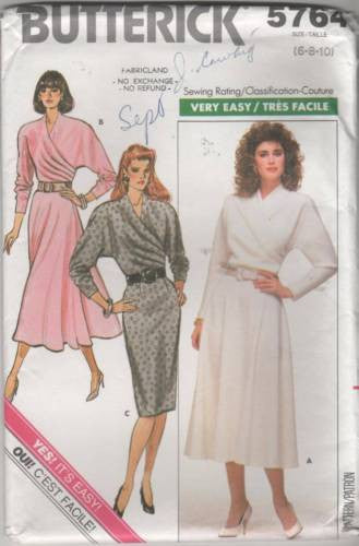 5764 Sewing Pattern Vintage Butterick Ladies Draped Front Dress 6 8 10