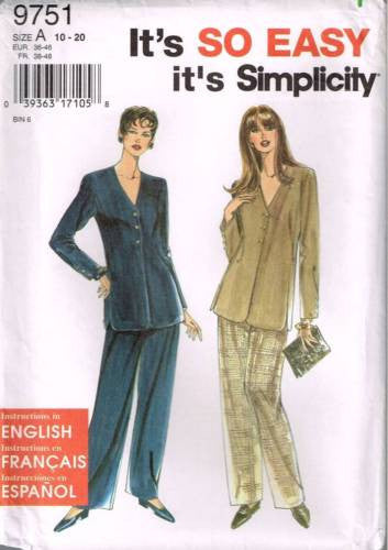9751 Sewing Pattern Ladies Plus Size Easy Tunic jacket Loose Pants 10 12 14 16 1