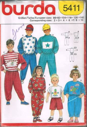 5411 Sewing Pattern Burda Kids Pants Shorts T-Shirt Sweatshirt 2 3 4 6 7/8 10