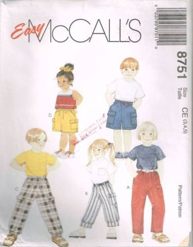 8751 Sewing Pattern McCall's Kids Loose Cargo Pants Shorts  4 5 6