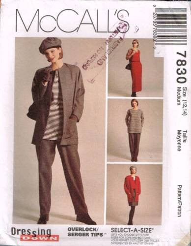 7830 Sewing Pattern McCall's Ladies Jacket Top Pants Tunic Med 12-14