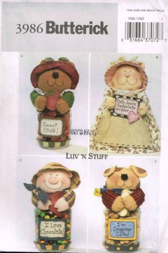 3986 Pattern Butterick Jar Cover Animals Kitten Dog Pig Bear Luv 'N Stuff