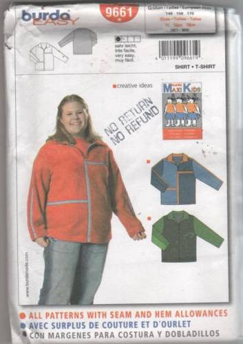 9661 Sewing Pattern Burda Girls Color Blocked Jacket Junior 11 13 15