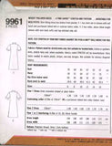 9961 Sewing Pattern Vintage Ladies T-Shirt Dress with Placket Collar 10 12 14