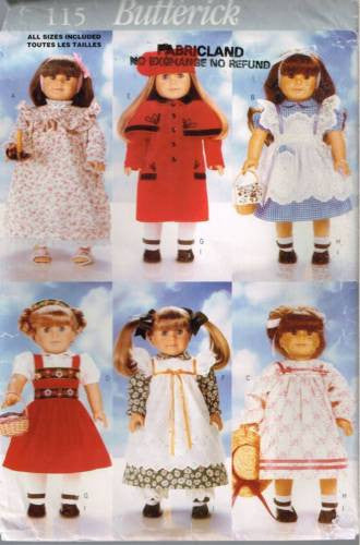 "*0115 Sewing Pattern Butterick Outfits for 18"" Doll Dorothy Dress Coat Nightgown +"