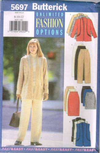 5697 Sewing Pattern Butterick Ladies Jacket Vest Pants Skirt 8 10 12
