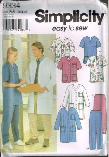 9334 Pattern Unisex Uniform Top Pants Nurse Reception Lab Scrubs Dentist XS S M