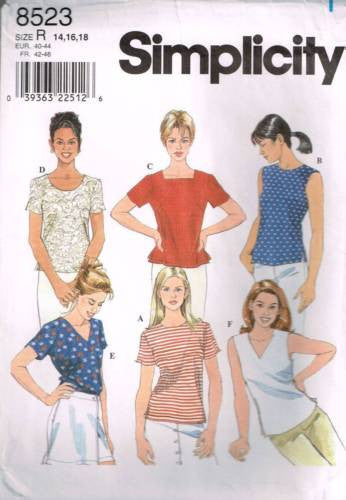 8523 Sewing Pattern Ladies Simple Top Tops w Variations 14 16 18