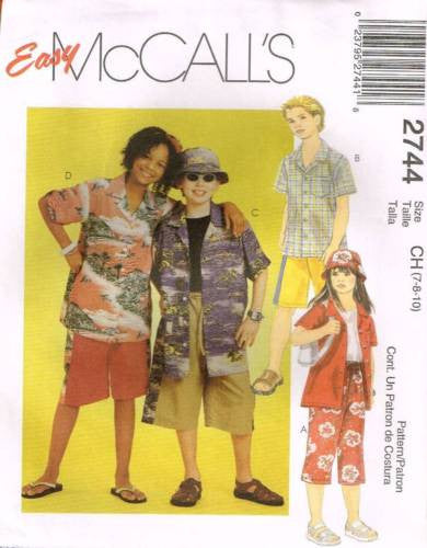 *2744 Sewing Pattern McCall's Kids Unisex Summer Outfits 7-8-10 or 12-14-16