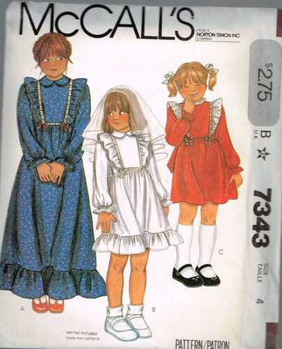 7343 Sewing Pattern Vintage McCall's Girls Dress with Ruffles 4