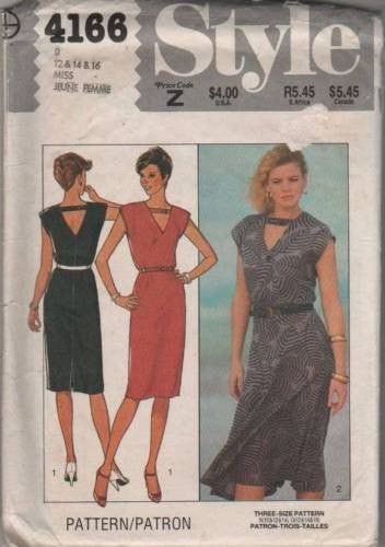 4166 Sewing Pattern Vintage Style Ladies V Neck Cap Sleeve Shift 12 14 16