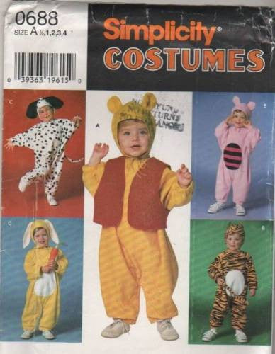*0688 Pattern Costume Kids Baby Infant Toddler Winnie Piglet Dalmation Bunny 1/2