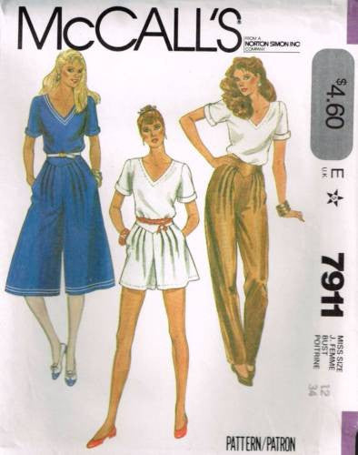 7911 Sewing Pattern Vintage McCall's Ladies Culottes Pants Shorts Top 12