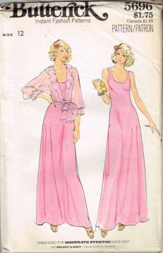 *5696 Sewing Pattern Vintage Butterick Ladies Gown Ruffled Jacket 12