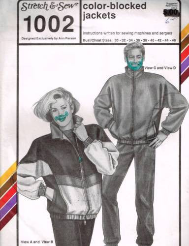 P1002 Sewing Pattern Unisex Color Blocked Jacket 30-46