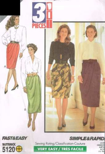 5120 Sewing Pattern Ladies Mock Wrap Skirt 12 14 16