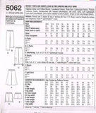 5062 Sewing Pattern Ladies Pants and Shorts 6 8 10 12