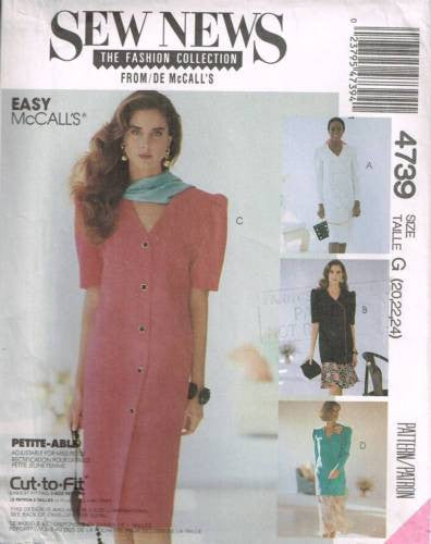 4739 Sewing Pattern McCall's Ladies Plus Size Dress Jacket Skirt 20 22 24