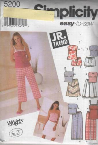 5200 Sewing Pattern Ladies Junior Teen Ladies Top Shorts Skirt 3/4 5/6 7/8 9/10