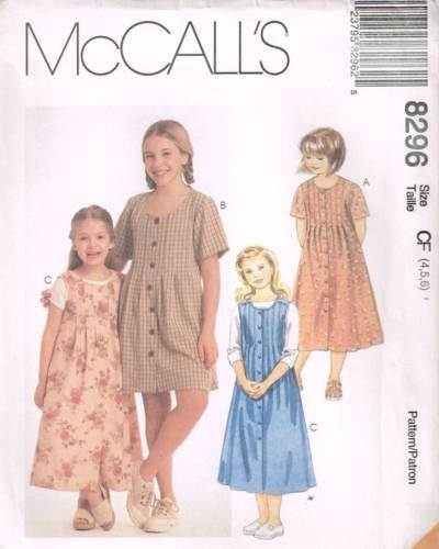8296 Sewing Pattern McCall's Girls Dress w Front Tucks 4 5 6