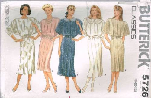 *5726 Sewing Pattern Vintage Butterick Ladies Dress with Pleats 8 10 12