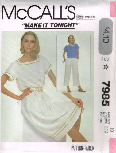 7985 Sewing Pattern Vintage McCall's Ladies Square Neck Top Pants Skirt 10
